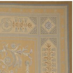 Hand-knotted French Aubusson Weave Gold Beige Wool Rug (12' x 18') - Thumbnail 1