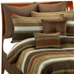 Tacoma 8-piece Red Stripe Comforter Set - Thumbnail 1