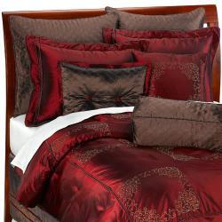 Brown/ Red Oversize 9-piece Comforter Set - Thumbnail 1