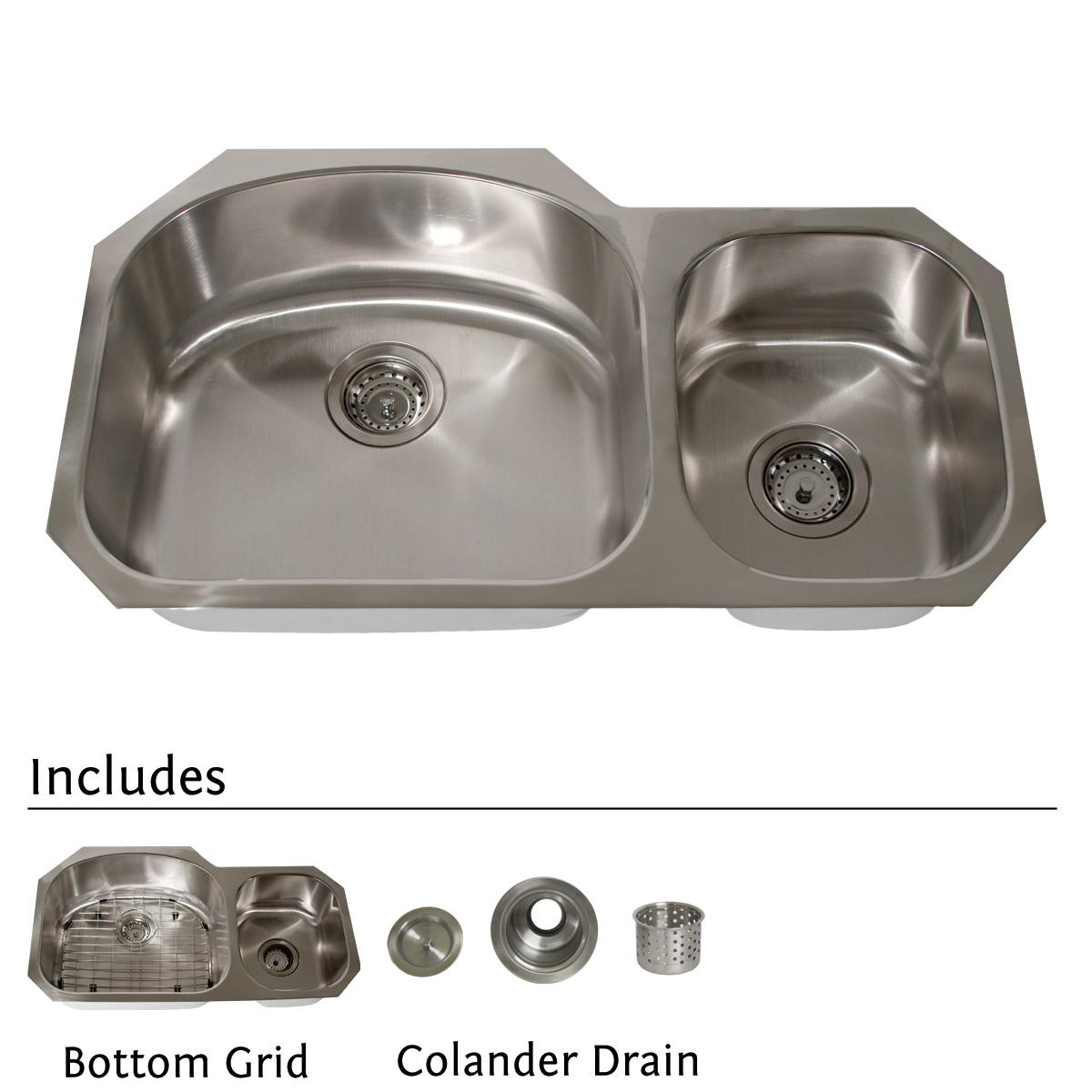 Highpoint Collection Stainless Steel 32-inch Undermount 70/30 2-bowl Kitchen Sink