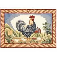 Safavieh Hand-hooked Rooster Ivory/ Blue Polypropylene Rug (2' x 3')