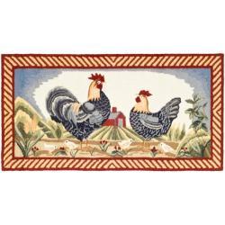 Safavieh Hand-hooked Rooster Ivory/ Blue Polypropylene Rug (2'6 x 5')
