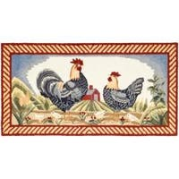 Safavieh Hand-hooked Rooster Ivory/ Blue Polypropylene Rug - 2'6 x 5'