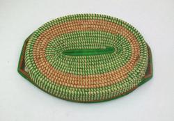 Bugandan Green Tribal Food Tray Basket (Uganda)