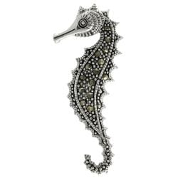 Sterling Silver Cz Seahorse Pin