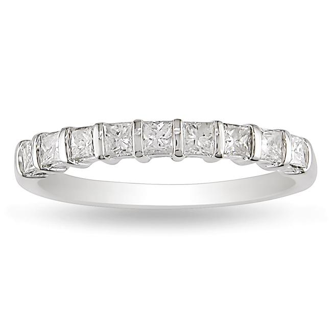 Miadora 14k White Gold 1/2ct TDW Princess Cut Diamond Band (H-I, I2-I3)