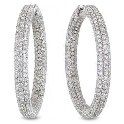 Miadora Signature Collection 18k White Gold 8 2/5ct TDW Diamond Hoop Earrings