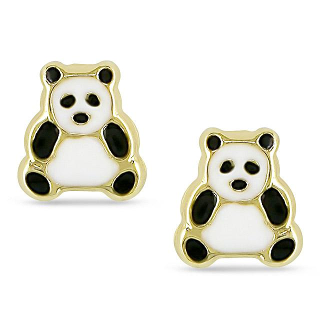 Shop 14k Yellow Gold Panda Bear Baby Earrings Free Shipping Today