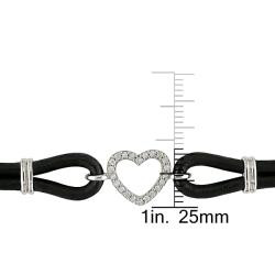 Sterling Silver and Leather 1/10ct TDW Diamond Bracelet - Thumbnail 2