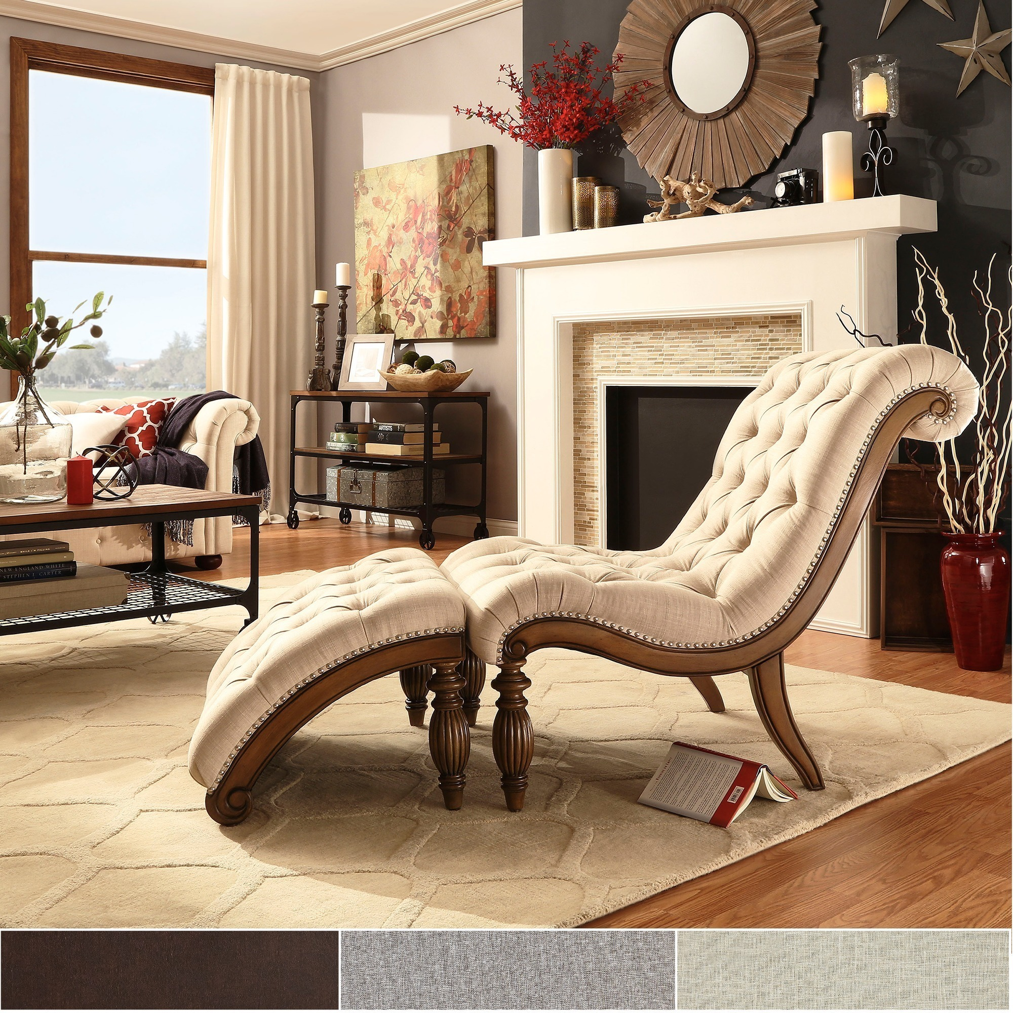 Bellagio Clic Tufted Chaise Lounge With Ottoman By Inspire Q