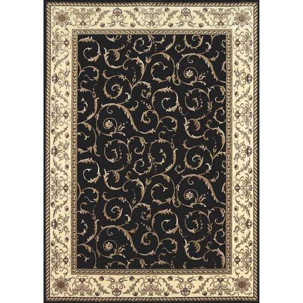 Admire Home Living Amalfi Scroll Black Oriental Area Rug (5'5 x 7'7)