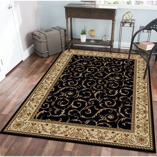 Admire Home Living Amalfi Scroll Black Oriental Area Rug (5'5 x 7'7) - 5'5 x 7'7