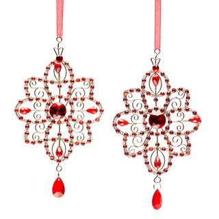 Selections by Chaumont Red Crystal Star Holiday Ornaments (Set of 2)