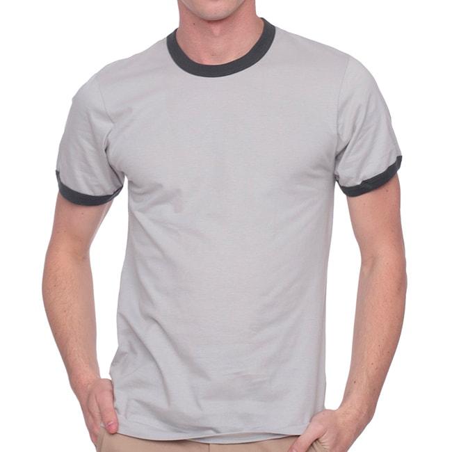 American Apparel Fine Jersey Ringer Short Sleeve T-Shirt (Small)