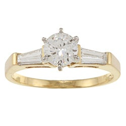 Kabella 18k Yellow Gold CZ and 3/8ct TDW Diamond Engagement Ring (G-H, VS1-VS2)