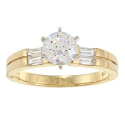 Kabella 18k Yellow Gold CZ and 1/4ct TDW Diamond Engagement Ring (G-H, VS1-VS2)