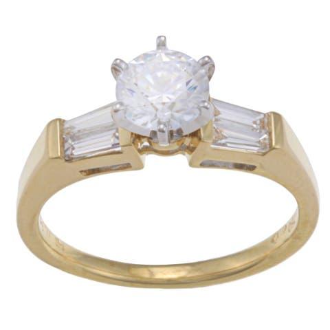 Kabella 18k Yellow Gold CZ and 1/3ct TDW Diamond Engagement Ring (G - H, VS1 - VS2) Size - 7