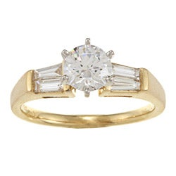 Kabella 18k Yellow Gold CZ and 1/3ct TDW Diamond Engagement Ring (G-H, VS1-VS2)