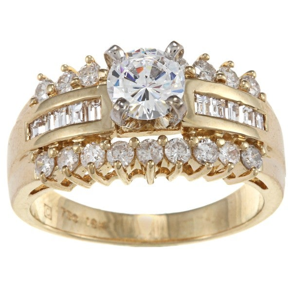 Kabella 18k Yellow Gold CZ and 7/8ct TDW Diamond Engagement Ring (H-I, VS1-VS2)