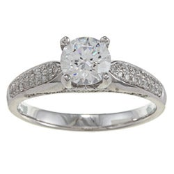Kabella 14k White Gold CZ and 1/3ct TDW Diamond Ring