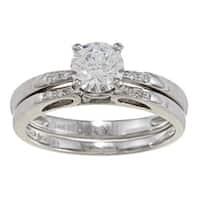 Kabella 14k White Gold CZ and 1/10ct TDW Diamond Bridal Ring Set (G-H, VS1-VS2)