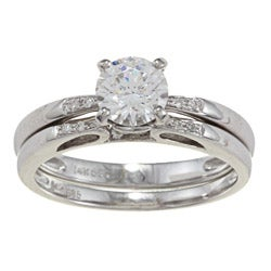 Kabella 14k White Gold CZ and 1/10ct TDW Diamond Bridal Ring Set (G-H, VS1-VS2)