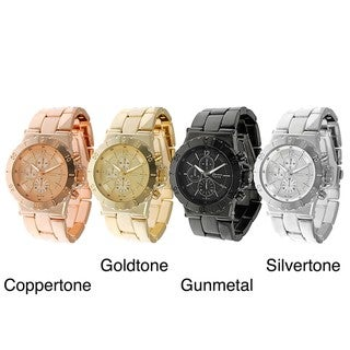 Geneva Platinum Men's Decorative Chronograph Style Link Watch