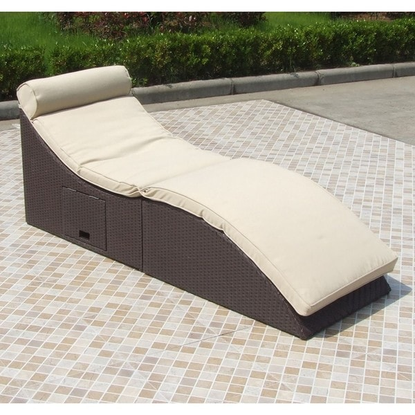 Wicker and Polyester Storage Outdoor Chaise Lounger