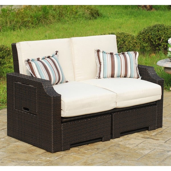 Wicker and polyester convertible outdoor sofa chaise for Chaise lounge convertible bed