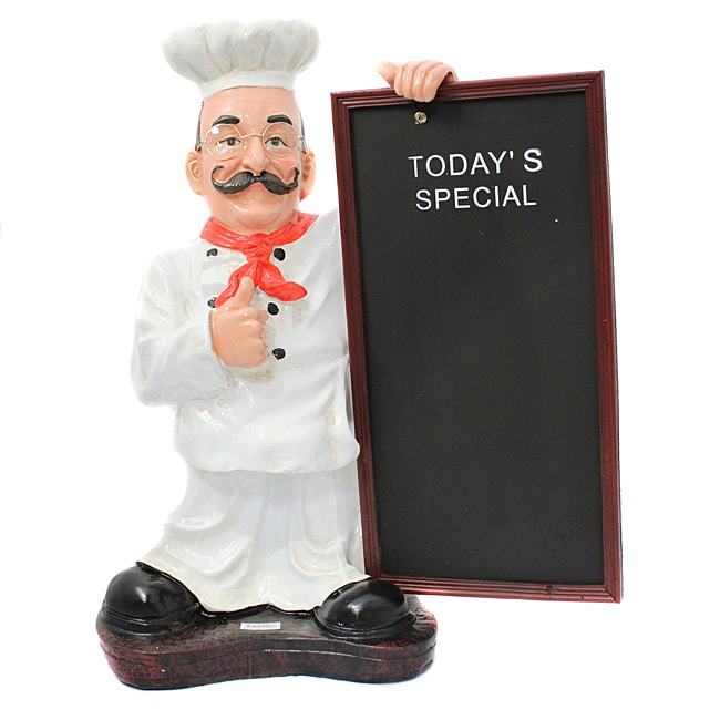 Casa Cortes 25-inch French Chef Figurine with Menu Board - Thumbnail 0