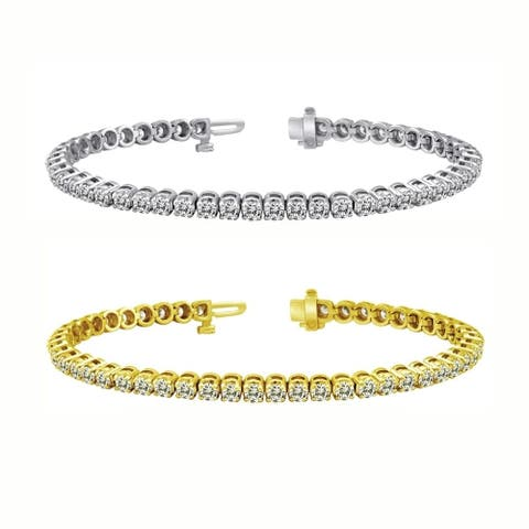 Auriya 6 carat TW Round Diamond Tennis Bracelet 14k Gold - 7-inch