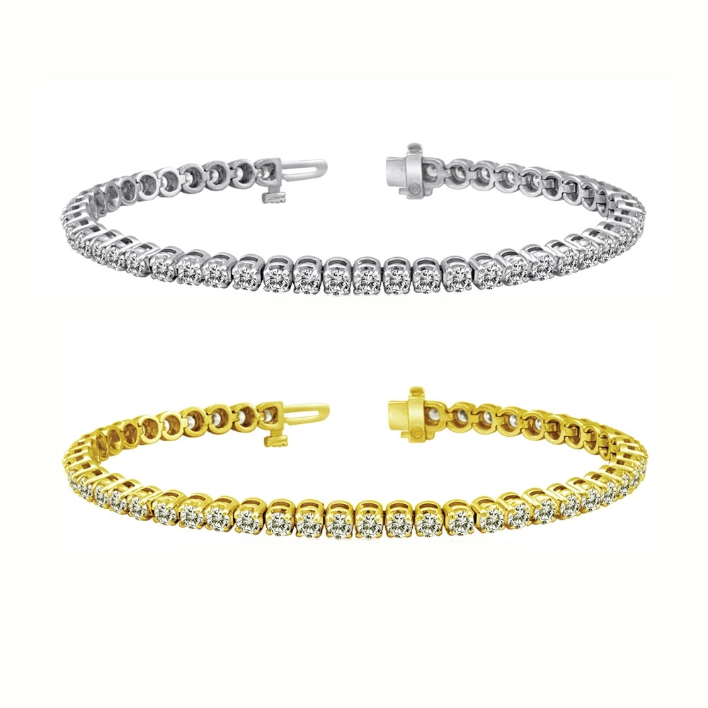 Auriya 14k Gold 5ct TDW Diamond Tennis Bracelet