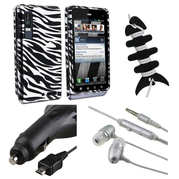 Zebra Case/ Headset/ Wrap/ Car Charger for Motorola Droid 3 XT862