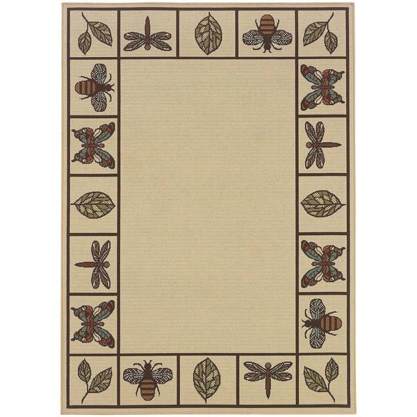 StyleHaven Botanical Ivory/Brown Indoor-Outdoor Area Rug (8'6x13') - 8'6 x 13'