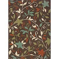 """StyleHaven Floral Brown/Green Indoor-Outdoor Area Rug (8'6x13') - 8'6"""" x 13'"""