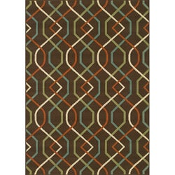 Brown/ Ivory Geometric Outdoor Area Rug (8'6 x 13')