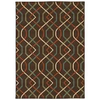 StyleHaven Lattice Brown/Ivory Indoor-Outdoor Area Rug (8'6x13') - 8'6 x 13'