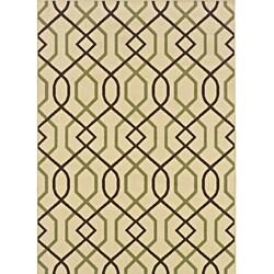 "Ivory/Brown Geometric-Print Outdoor Rug (8'6"" x 13')"