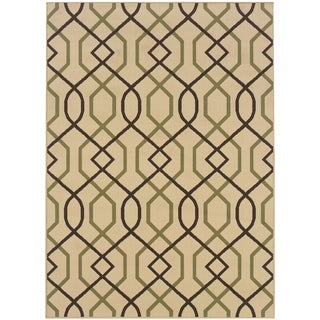 StyleHaven Lattice Ivory/Brown Indoor-Outdoor Area Rug (8'6x13')
