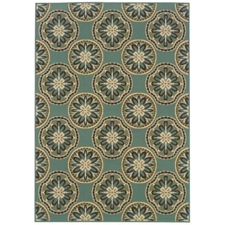 StyleHaven Floral Blue/Ivory Indoor-Outdoor Area Rug (8'6x13')