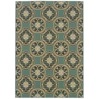 StyleHaven Floral Blue/Ivory Indoor-Outdoor Area Rug - 8'6 x 13'