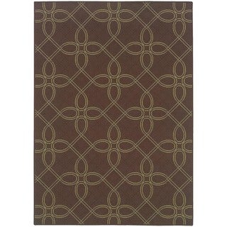 StyleHaven Lattice Brown/Green Indoor-Outdoor Area Rug (8'6x13')