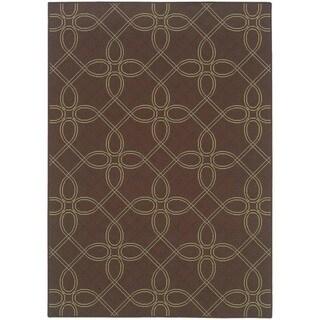 StyleHaven Lattice Brown/Green Indoor-Outdoor Area Rug (8'6x13')