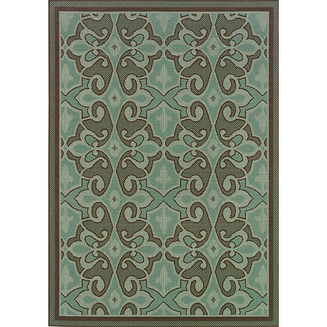 Blue Brown Abstract Outdoor Area Rug 8 6 X 13 Free