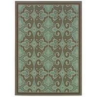 StyleHaven Traditional Blue/Brown Indoor-Outdoor Area Rug - 8'6 x 13'