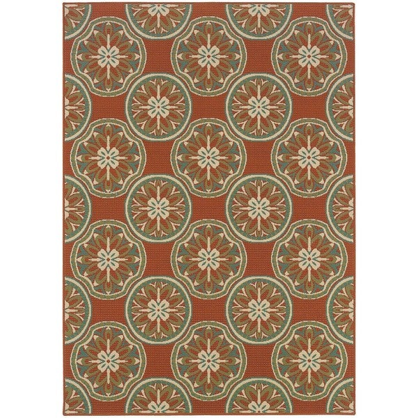 StyleHaven Floral Orange/Ivory Indoor-Outdoor Area Rug - 8'6 x 13'
