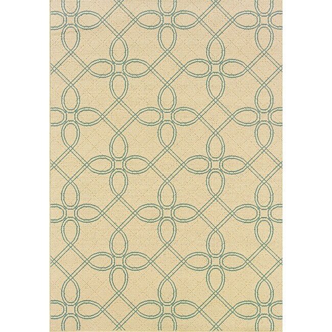 Ivory/ Blue Outdoor Rug (8'6 x 13')