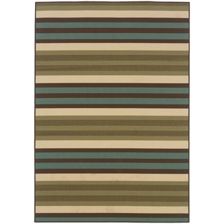 StyleHaven Stripes Green/Blue Indoor-Outdoor Area Rug (8'6x13')