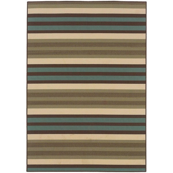 "StyleHaven Stripes Green/Blue Indoor-Outdoor Area Rug (8'6x13') - 8'6"" x 13'"