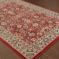 Gracewood Hollow Barreiro Red/ Ivory Traditional Area Rug - 10' x 12'7""